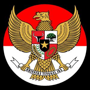 Garuda Pancasila dengan latar belakang Bendera Merah Putih