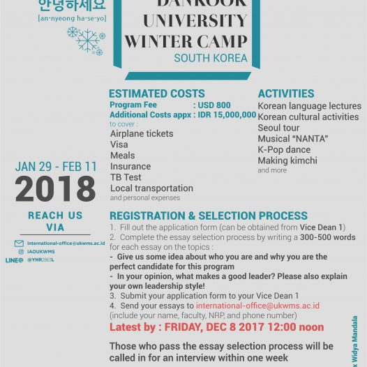 Dankook University South Korea & Widya Mandala Catholic University Surabaya Winter Camp